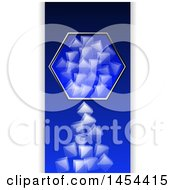Clipart Graphic Of A Hexagon Frame With Falling Ice Cubes Over Blue With Shaded Panels Royalty Free Vector Illustration by elaineitalia