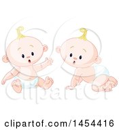 Clipart Graphic Of Cute Curious Blond Caucasian Baby Boys Royalty Free Vector Illustration