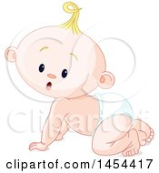 Poster, Art Print Of Cute Curious Blond Caucasian Baby Boy Crawling