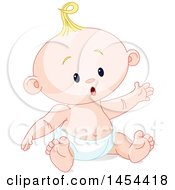 Clipart Graphic Of A Cute Happy Blond Caucasian Baby Boy Sitting Royalty Free Vector Illustration