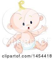 Poster, Art Print Of Cute Happy Blond Caucasian Baby Boy Sitting