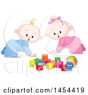 Clipart Graphic Of Cute Surprised Or Curious Blond Caucasian Babies Looking At Blocks Royalty Free Vector Illustration