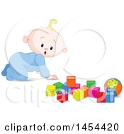 Poster, Art Print Of Cute Surprised Or Curious Blond Caucasian Baby Boy Crawling And Looking At Toy Blocks