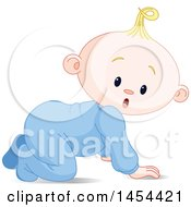 Poster, Art Print Of Cute Surprised Or Curious Blond Caucasian Baby Boy Crawling
