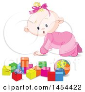 Poster, Art Print Of Cute Surprised Or Curious Blond Caucasian Baby Girl Crawling And Looking At Toy Blocks