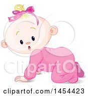 Poster, Art Print Of Cute Surprised Or Curious Blond Caucasian Baby Girl Crawling