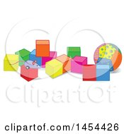 Clipart Graphic Of A Toy Mouse And Ball With Colorful Blocks Royalty Free Vector Illustration