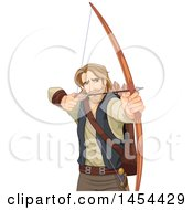 Clipart Graphic Of A Man Robin Hood Aiming An Arrow Royalty Free Vector Illustration