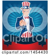 Clipart Graphic Of A Pointing Uncle Sam In An American Suit Over A Blank Banner And Rays Royalty Free Vector Illustration by Pushkin