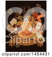 Clipart Graphic Of A Sepia Toned Hat Over Playing Cards Gears Alice In Wonderland Potions A Clock And Banner On Black Royalty Free Vector Illustration by Pushkin