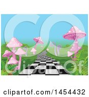 Clipart Graphic Of A Checkered Wonderland Path Leading Through Pink Mushrooms And Ferns Royalty Free Vector Illustration by Pushkin