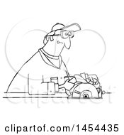 Cartoon Black And White Lineart Man Using A Circular Saw