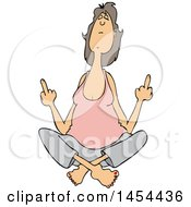Cartoon White Woman In The Lotus Meditation Pose Holding Up Two Middle Fingers
