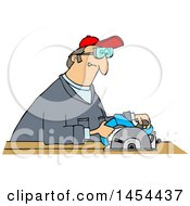 Clipart Graphic Of A Cartoon White Man Using A Circular Saw Royalty Free Vector Illustration