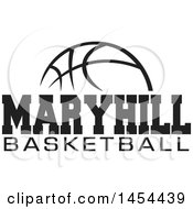 Clipart Graphic Of A Black And White Ball With Maryhill Basketball Text Royalty Free Vector Illustration