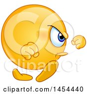 Clipart Graphic Of A Cartoon Angry Emoji Smiley Emoticon Marching Royalty Free Vector Illustration