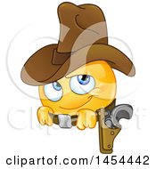 Clipart Graphic Of A Cartoon Emoji Smiley Emoticon Cowboy Royalty Free Vector Illustration