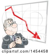 Poster, Art Print Of Cartoon White Business Man Looking At A Loss Chart