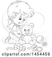 Clipart Graphic Of A Cartoon Black And White Lineart Girl Playing With A Teddy Bear Royalty Free Vector Illustration