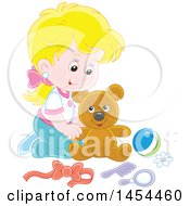 Clipart Graphic Of A Blond Caucasian Girl Playing With A Teddy Bear Royalty Free Vector Illustration