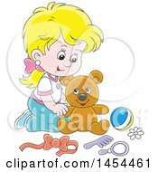 Poster, Art Print Of Cartoon Blond White Girl Playing With A Teddy Bear