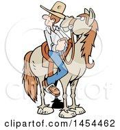 Poster, Art Print Of Cartoon Horseback Caucasian Cowboy Looking Back