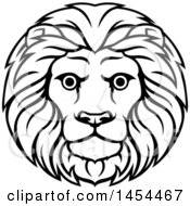 Clipart Graphic Of A Black And White Lineart Leo Lion Face And Mane Astrology Zodiac Horoscope Royalty Free Vector Illustration by AtStockIllustration