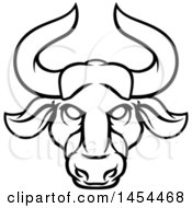 Clipart Graphic Of A Black And White Lineart Taurus Bull Astrology Zodiac Horoscope Royalty Free Vector Illustration