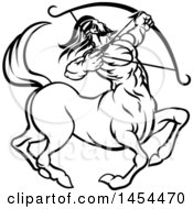 Clipart Graphic Of A Black And White Lineart Sagittarius Centaur Archer Astrology Zodiac Horoscope Royalty Free Vector Illustration by AtStockIllustration