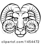Clipart Graphic Of A Black And White Lineart Aries Ram Astrology Zodiac Horoscope Royalty Free Vector Illustration