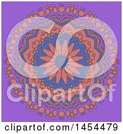Clipart Graphic Of A Decorative Mandala Design Over Purple Royalty Free Vector Illustration by KJ Pargeter
