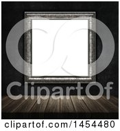 Clipart Graphic Of A 3d Blank Picture Frame On A Dark Wall Over A Wood Table Royalty Free Illustration