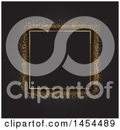 Clipart Graphic Of A Golden Glitter Frame On Black Royalty Free Vector Illustration