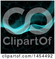 Clipart Graphic Of A Background Of Halftone Dot Waves And Connections On Black Royalty Free Illustration