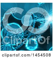 Clipart Graphic Of A 3d Blue Dna Strand And Virus Cells Background Royalty Free Illustration