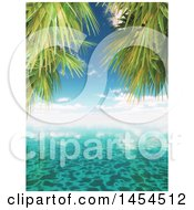 Clipart Graphic Of A 3d Sunny Sky Over The Ocean With Tropical Palm Tree Branches Royalty Free Illustration