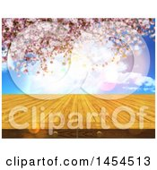 Clipart Graphic Of A 3d Wooden Table Surface Against A Blurred Cherry Blossom Background Royalty Free Illustration