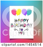 Poster, Art Print Of Happy Birthday To You Greeting With Balloons Over Colorful Gradient