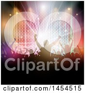 Clipart Graphic Of A Silhouetted Crowd Of Dancers Against Checkers Lights And Stars Royalty Free Vector Illustration
