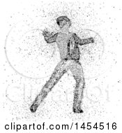 Clipart Graphic Of A Man Dancing And Made Of Exploding Dots Royalty Free Vector Illustration