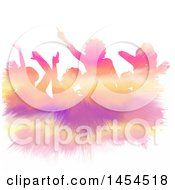 Clipart Graphic Of A Colorful Paint Strokes Silhouetted Crowd Dancing Over White Royalty Free Vector Illustration