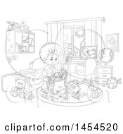 Clipart Graphic Of A Cartoon Black And White Lineart School Boy Packing His Backpack In His Bedroom Royalty Free Vector Illustration