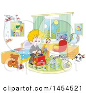 Clipart Graphic Of A Cartoon White School Boy Packing His Backpack In His Bedroom Royalty Free Vector Illustration