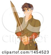 Young Handsome Man Arthur Holding A Sword