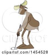 Poster, Art Print Of Cartoon Moose Golfer Putting