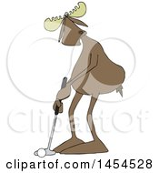 Clipart Graphic Of A Cartoon Moose Golfer Putting Royalty Free Vector Illustration