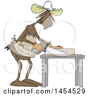 Cartoon Moose Carpenter Using A Saw