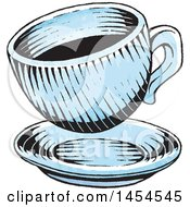 Poster, Art Print Of Sketched Cup Of Coffee Over A Saucer