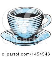 Clipart Graphic Of A Sketched Cup Of Coffee On A Saucer Royalty Free Vector Illustration