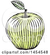 Clipart Graphic Of A Sketched Green Apple Royalty Free Vector Illustration by cidepix
